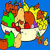 Fresh fruits in the basket coloring hra