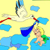 Kids coloring Stork and baby hra