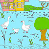 Little farm and ducks coloring hra